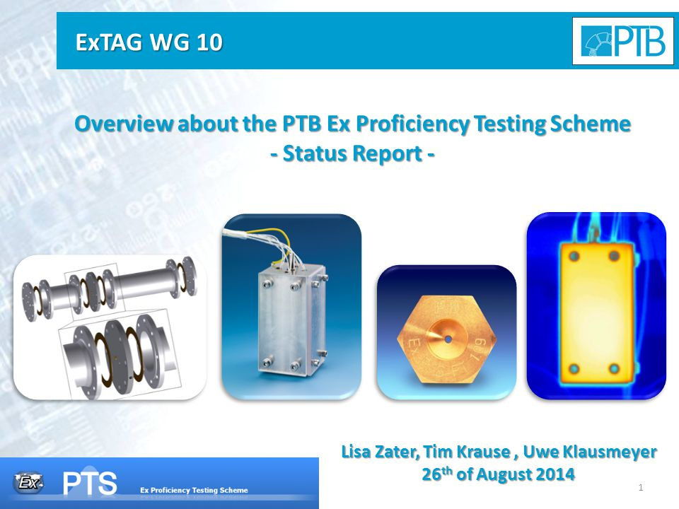 1 Overview about the PTB Ex Proficiency Testing Scheme - Status Report - Lisa Zater, Tim Krause, Uwe Klausmeyer 26 th of August 2014 ExTAG WG 10