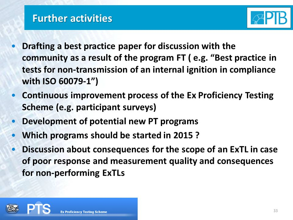 33 Further activities Drafting a best practice paper for discussion with the community as a result of the program FT ( e.g.