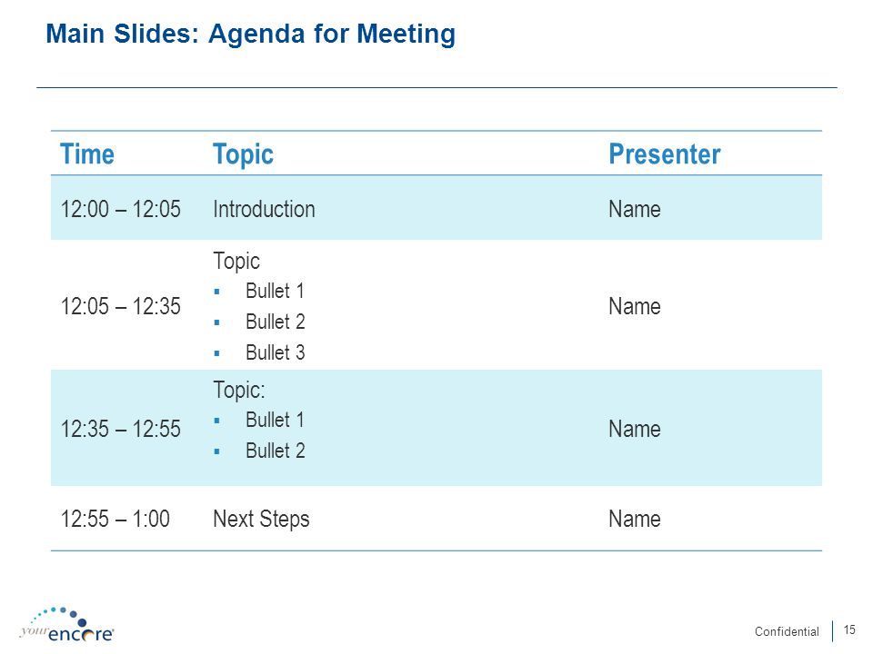 15 Confidential Main Slides: Agenda for Meeting TimeTopicPresenter 12:00 – 12:05IntroductionName 12:05 – 12:35 Topic  Bullet 1  Bullet 2  Bullet 3 Name 12:35 – 12:55 Topic:  Bullet 1  Bullet 2 Name 12:55 – 1:00Next StepsName