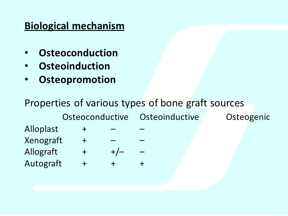 Biological mechanism Osteoconduction Osteoinduction Osteopromotion Properties of various types of bone graft sources OsteoconductiveOsteoinductiveOsteogenic Alloplast +–– Xenograft+–– Allograft++/–– Autograft+++