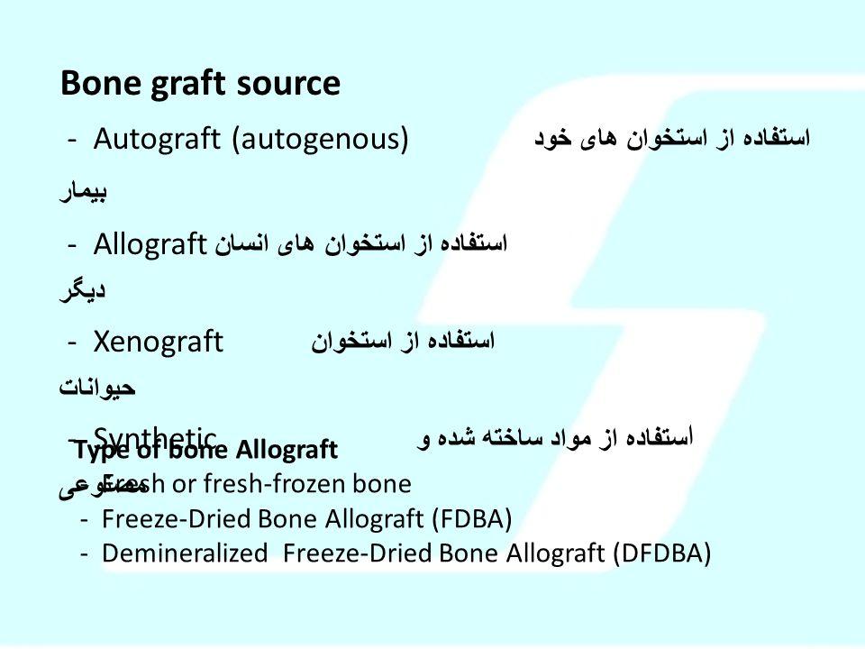 Bone graft source - Autograft (autogenous) استفاده از استخوان های خود بیمار - Allograft استفاده از استخوان های انسان دیگر - Xenograft استفاده از استخو