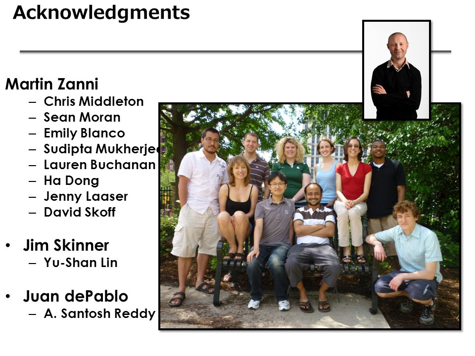 Acknowledgments Martin Zanni – Chris Middleton – Sean Moran – Emily Blanco – Sudipta Mukherjee – Lauren Buchanan – Ha Dong – Jenny Laaser – David Skoff Jim Skinner – Yu-Shan Lin Juan dePablo – A.