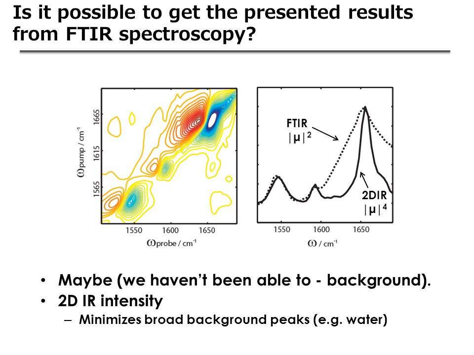 Is it possible to get the presented results from FTIR spectroscopy? Maybe (we haven't been able to - background). 2D IR intensity – Minimizes broad ba