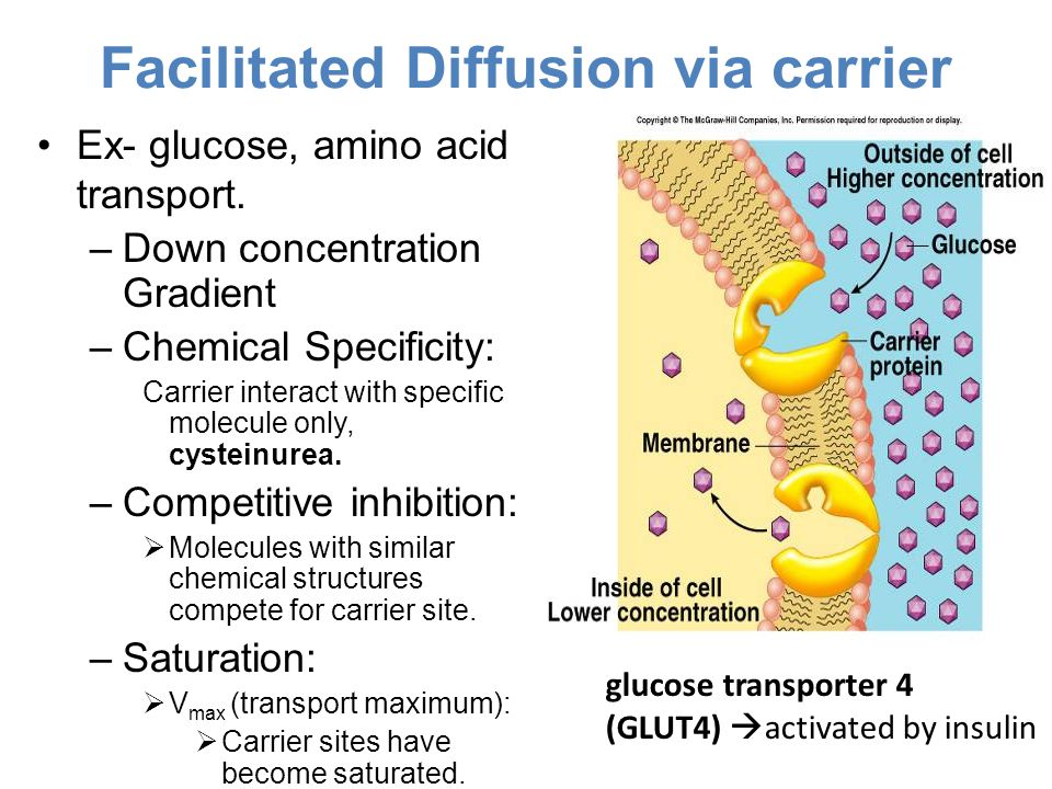 Facilitated Diffusion via carrier Ex- glucose, amino acid transport. –Down concentration Gradient –Chemical Specificity: Carrier interact with specifi