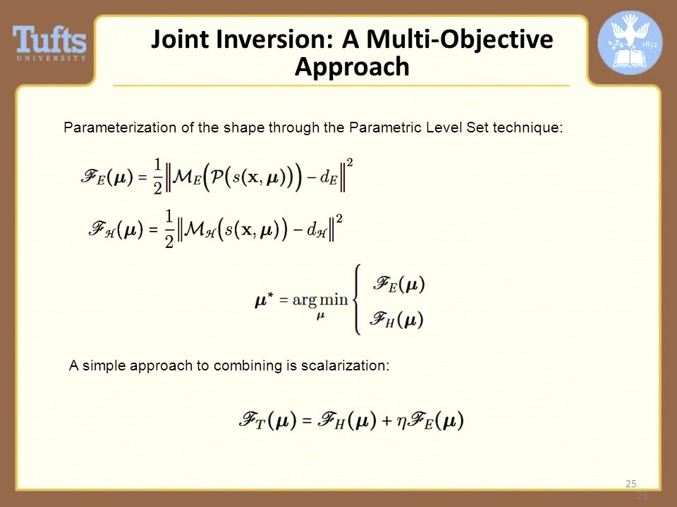 25 Joint Inversion: A Multi-Objective Approach Parameterization of the shape through the Parametric Level Set technique: A simple approach to combining is scalarization: 25