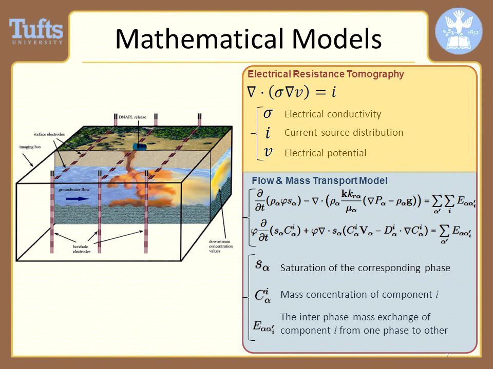 Mathematical Models Electrical conductivity Current source distribution Electrical potential Mass concentration of component i The inter-phase mass exchange of component i from one phase to other Electrical Resistance Tomography Flow & Mass Transport Model 7 Saturation of the corresponding phase