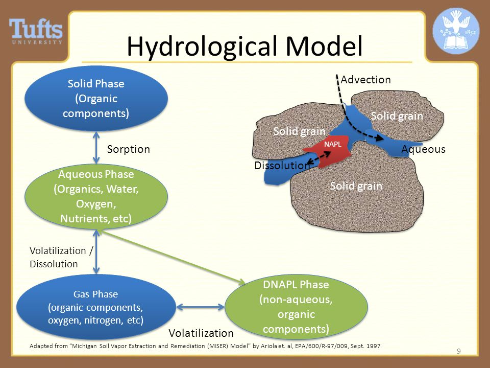 Hydrological Model 9 Solid Phase (Organic components) Solid Phase (Organic components) Aqueous Phase (Organics, Water, Oxygen, Nutrients, etc) Aqueous Phase (Organics, Water, Oxygen, Nutrients, etc) DNAPL Phase (non-aqueous, organic components) DNAPL Phase (non-aqueous, organic components) Sorption Dissolution Gas Phase (organic components, oxygen, nitrogen, etc) Gas Phase (organic components, oxygen, nitrogen, etc) Volatilization / Dissolution Volatilization Adapted from Michigan Soil Vapor Extraction and Remediation (MISER) Model by Ariola et.