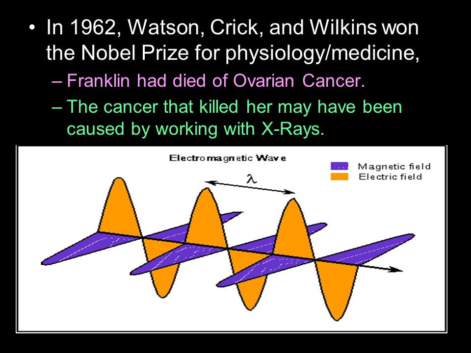 In 1962, Watson, Crick, and Wilkins won the Nobel Prize for physiology/medicine, –Franklin had died of Ovarian Cancer.