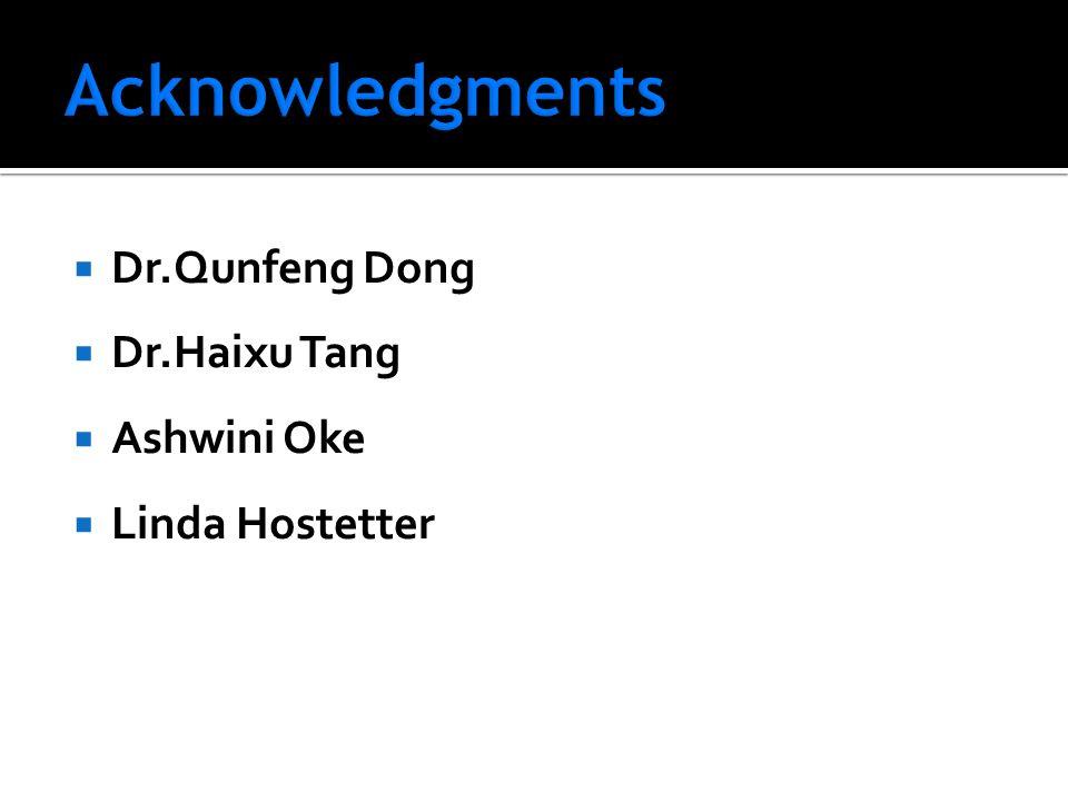  Dr.Qunfeng Dong  Dr.Haixu Tang  Ashwini Oke  Linda Hostetter