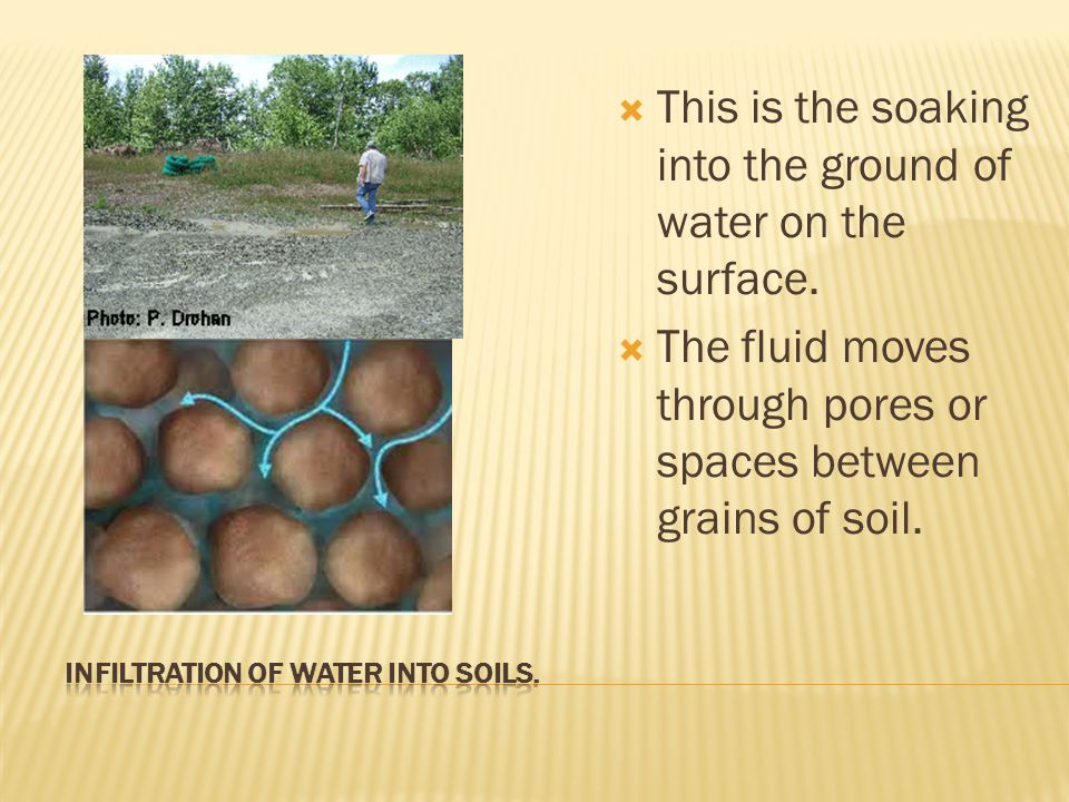  This is the soaking into the ground of water on the surface.