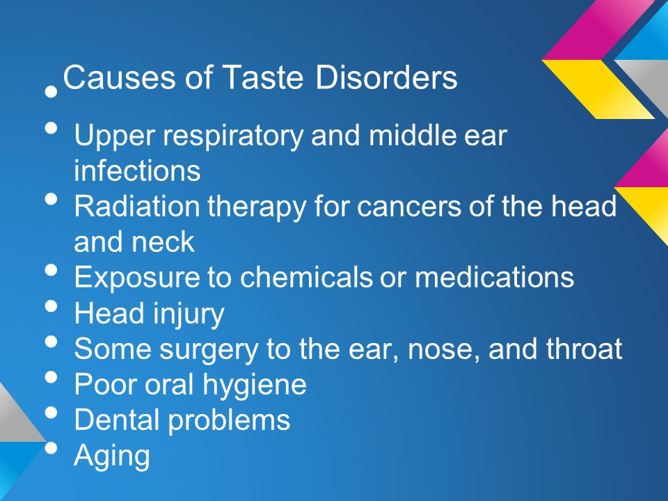 Common Taste Disorders Hypogeusia: reduced ability to taste sweet, sour, bitter, or salty o Caused by serious burns, drug use, smoking Ageusia: inability to detect any tastes Thought to be caused by damage to taste buds (which causes an inability of nerves to transmit taste to brain)