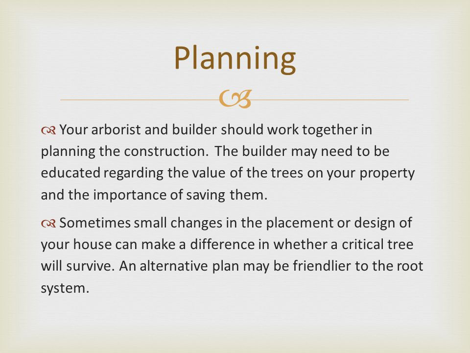   Your arborist and builder should work together in planning the construction.