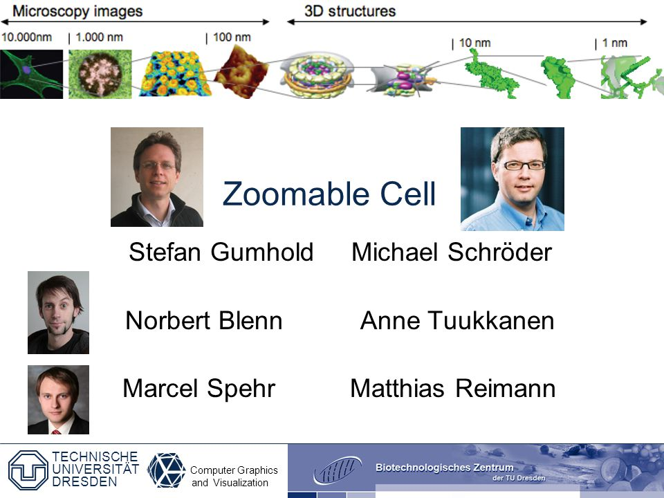 Computer Graphics and Visualization TECHNISCHE UNIVERSITÄT DRESDEN Zoomable Cell Stefan Gumhold Michael Schröder Norbert Blenn Anne Tuukkanen Marcel S