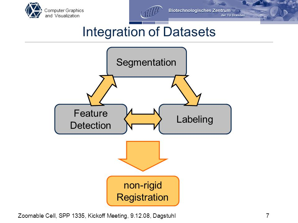 Computer Graphics and Visualization Zoomable Cell, SPP 1335, Kickoff Meeting, 9.12.08, Dagstuhl7 Integration of Datasets Segmentation Feature Detectio