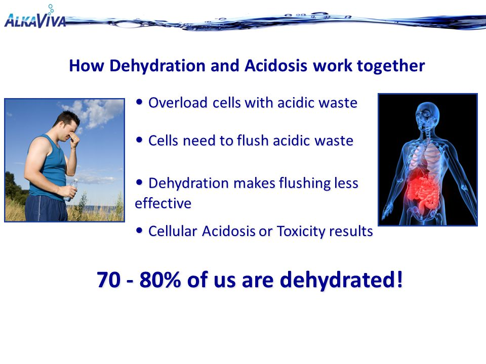 Cells need to flush acidic waste Cells need to flush acidic waste Cellular Acidosis or Toxicity results Cellular Acidosis or Toxicity results How Dehydration and Acidosis work together 70 - 80% of us are dehydrated.