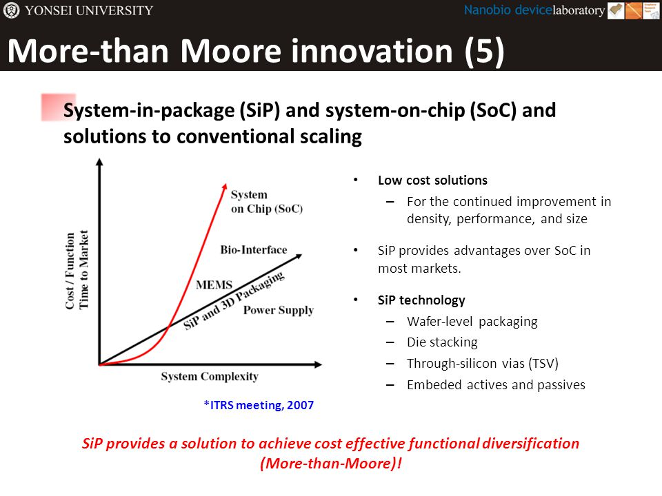 More-than Moore innovation (5) Low cost solutions – For the continued improvement in density, performance, and size SiP provides advantages over SoC i