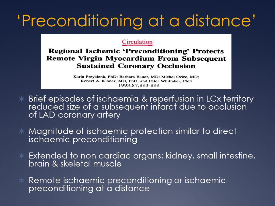 'Preconditioning at a distance'  Brief episodes of ischaemia & reperfusion in LCx territory reduced size of a subsequent infarct due to occlusion of LAD coronary artery  Magnitude of ischaemic protection similar to direct ischaemic preconditioning  Extended to non cardiac organs: kidney, small intestine, brain & skeletal muscle  Remote ischaemic preconditioning or ischaemic preconditioning at a distance