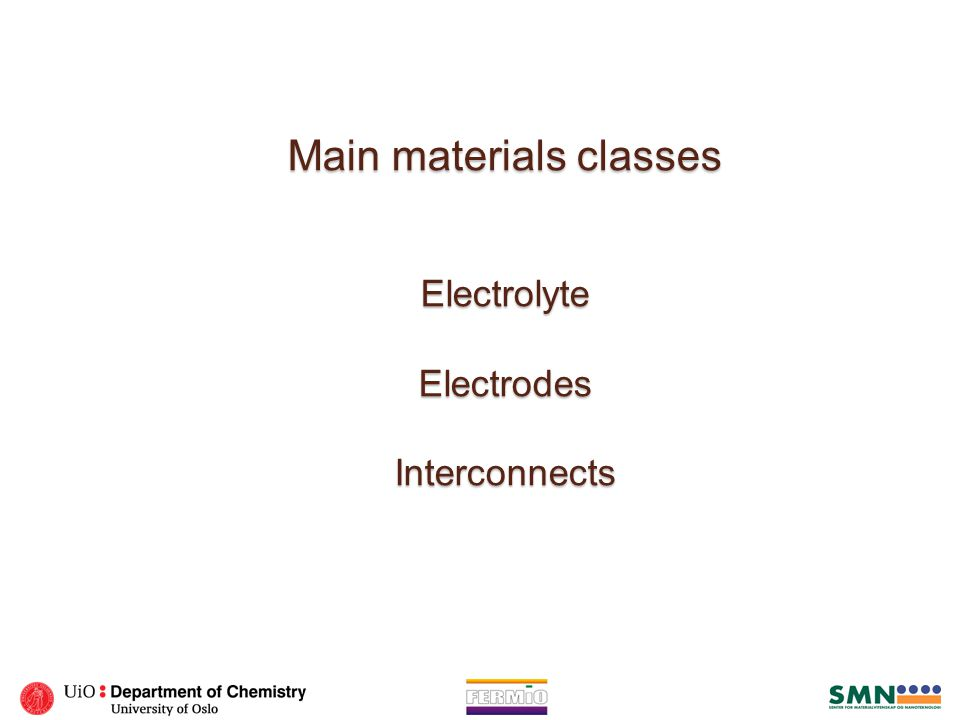Main materials classes Electrolyte Electrodes Interconnects