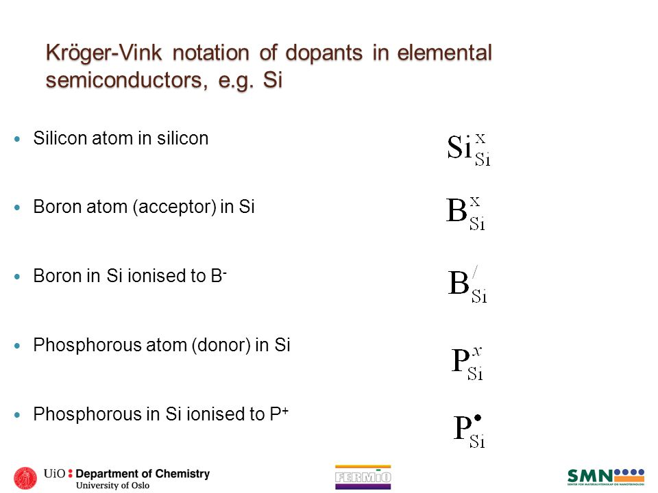 Kröger-Vink notation of dopants in elemental semiconductors, e.g. Si Silicon atom in silicon Boron atom (acceptor) in Si Boron in Si ionised to B - Ph