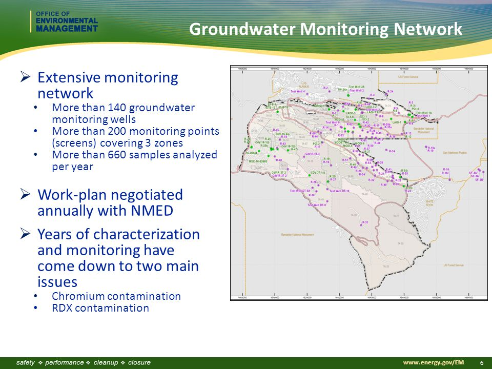 www.energy.gov/EM 6 Groundwater Monitoring Network  Extensive monitoring network More than 140 groundwater monitoring wells More than 200 monitoring points (screens) covering 3 zones More than 660 samples analyzed per year  Work-plan negotiated annually with NMED  Years of characterization and monitoring have come down to two main issues Chromium contamination RDX contamination