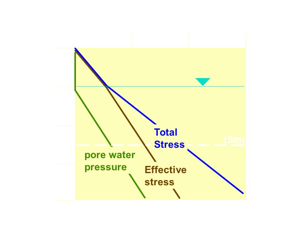 050100150 0m 2m 4m 6m 8m kPa pore water pressure Effective stress Total Stress (5m) Depth