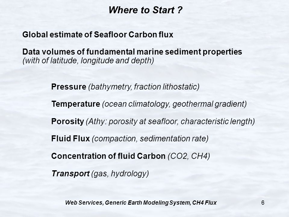 Web Services, Generic Earth Modeling System, CH4 Flux6 Where to Start ? Global estimate of Seafloor Carbon flux Data volumes of fundamental marine sed