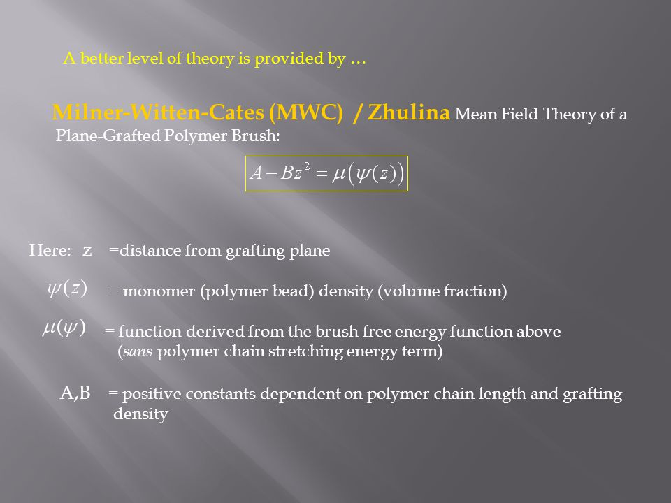 Milner-Witten-Cates (MWC) / Zhulina Mean Field Theory of a Plane-Grafted Polymer Brush: Here: z =distance from grafting plane = monomer (polymer bead)