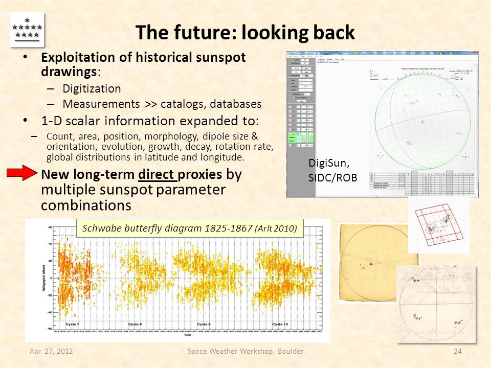 The future: looking back Exploitation of historical sunspot drawings: – Digitization – Measurements >> catalogs, databases 1-D scalar information expa