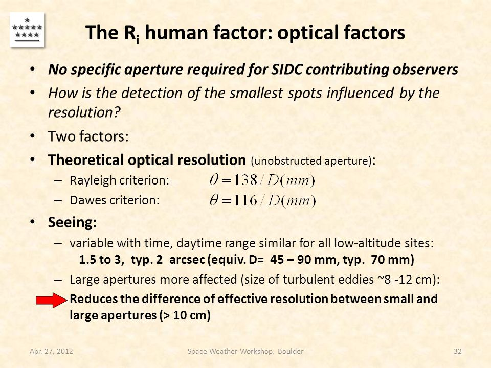 The R i human factor: optical factors No specific aperture required for SIDC contributing observers How is the detection of the smallest spots influen