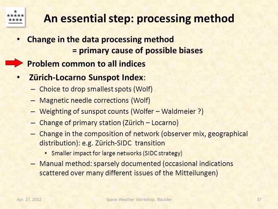 An essential step: processing method Change in the data processing method = primary cause of possible biases Problem common to all indices Zürich-Loca