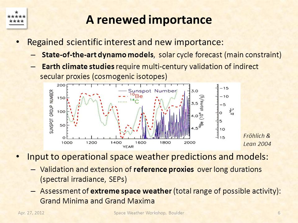 A renewed importance Regained scientific interest and new importance: – State-of-the-art dynamo models, solar cycle forecast (main constraint) – Earth