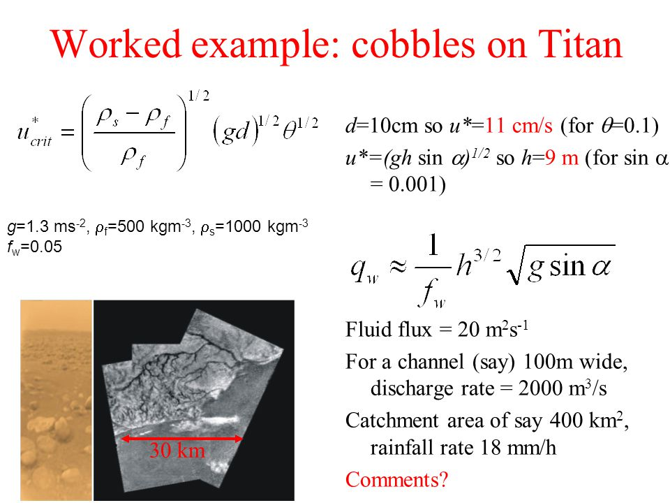 Worked example: cobbles on Titan d=10cm so u*=11 cm/s (for  =0.1) u*=(gh sin  ) 1/2 so h=9 m (for sin  = 0.001) Fluid flux = 20 m 2 s -1 For a channel (say) 100m wide, discharge rate = 2000 m 3 /s Catchment area of say 400 km 2, rainfall rate 18 mm/h Comments.