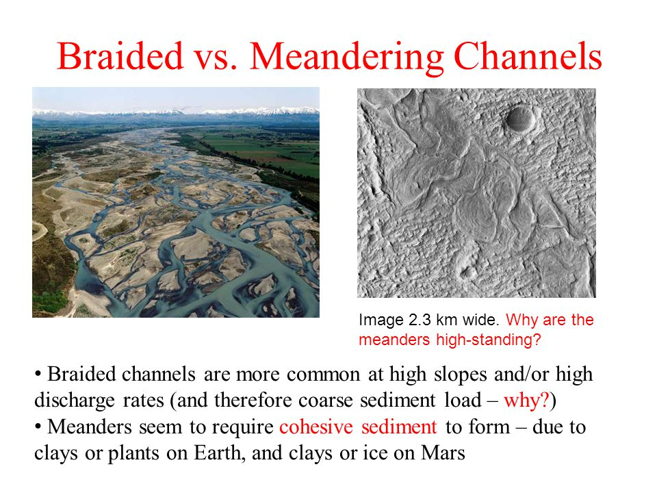 Braided vs. Meandering Channels Image 2.3 km wide.
