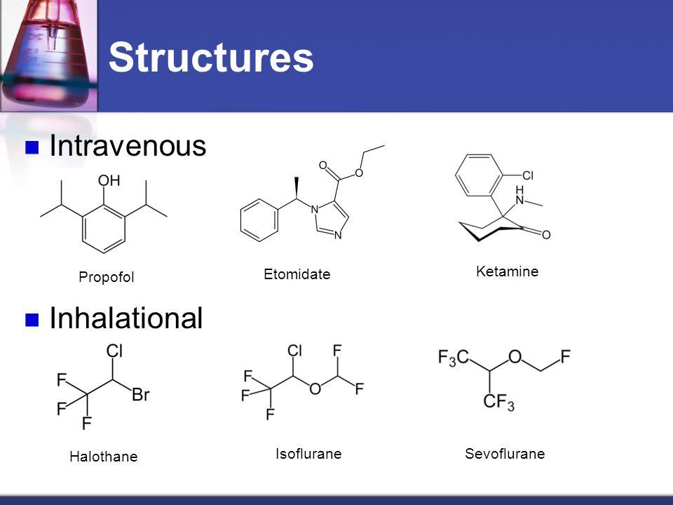 Structures Intravenous Inhalational Propofol Etomidate Ketamine Halothane IsofluraneSevoflurane