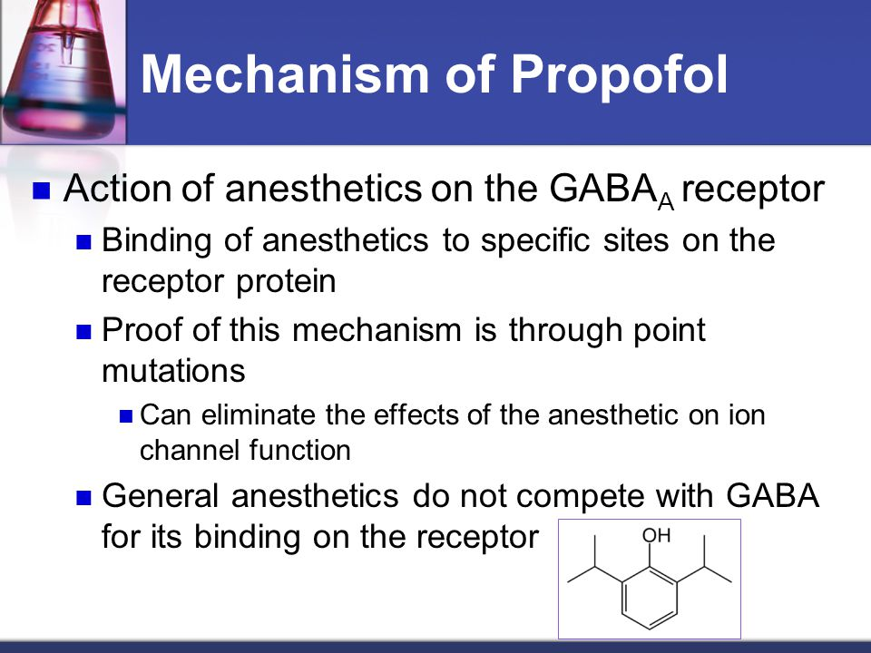 Mechanism of Propofol Action of anesthetics on the GABA A receptor Binding of anesthetics to specific sites on the receptor protein Proof of this mech