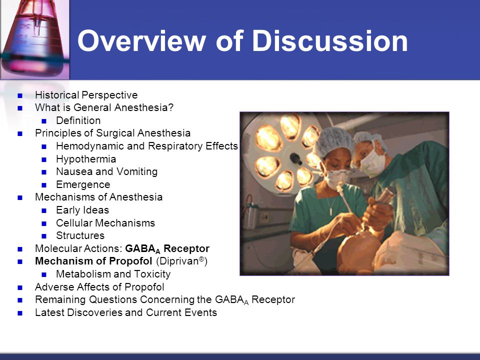 Overview of Discussion Historical Perspective What is General Anesthesia? Definition Principles of Surgical Anesthesia Hemodynamic and Respiratory Eff