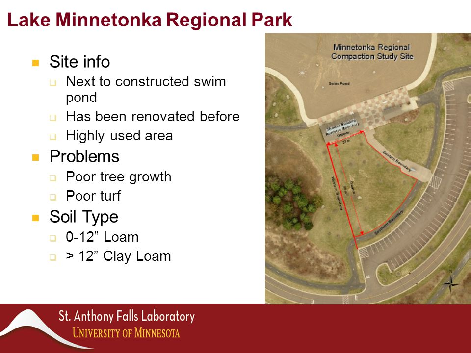 Site info  Next to constructed swim pond  Has been renovated before  Highly used area Problems  Poor tree growth  Poor turf Soil Type  0-12 Loam  > 12 Clay Loam Lake Minnetonka Regional Park
