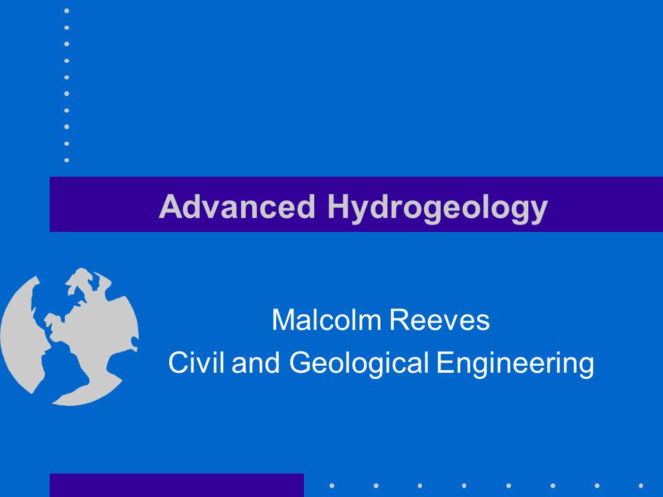 Advanced Hydrogeology Malcolm Reeves Civil and Geological Engineering
