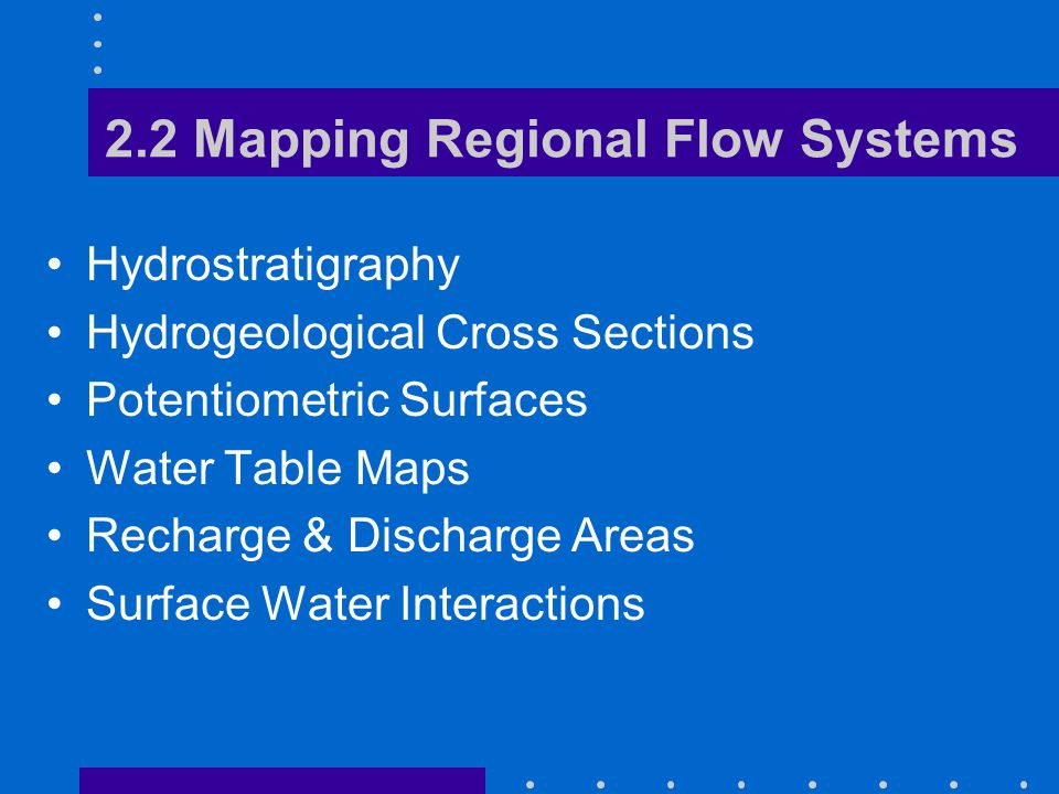2.2 Mapping Regional Flow Systems Hydrostratigraphy Hydrogeological Cross Sections Potentiometric Surfaces Water Table Maps Recharge & Discharge Areas Surface Water Interactions