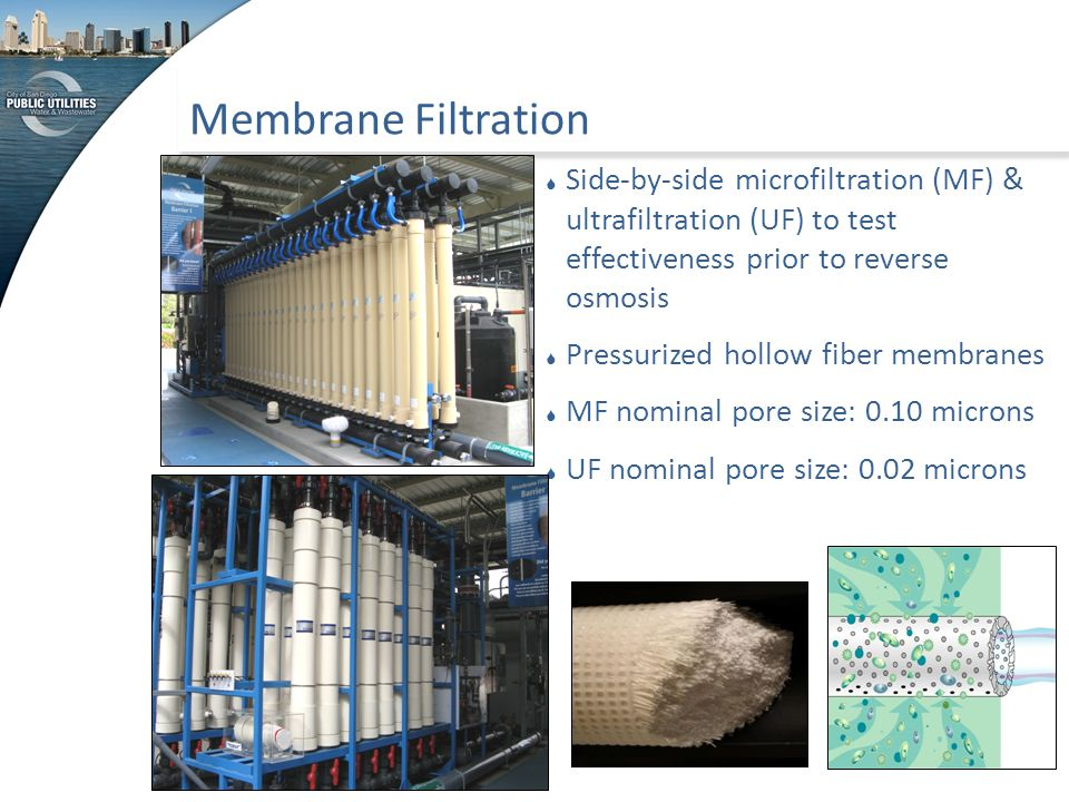 Membrane Filtration  Side-by-side microfiltration (MF) & ultrafiltration (UF) to test effectiveness prior to reverse osmosis  Pressurized hollow fib
