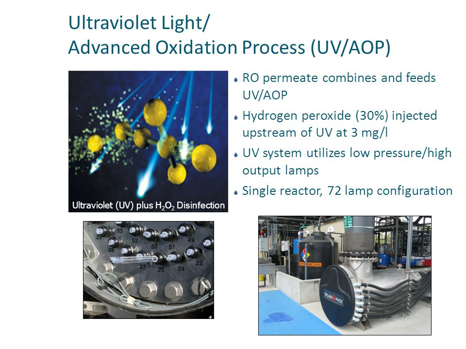 Ultraviolet Light/ Advanced Oxidation Process (UV/AOP)  RO permeate combines and feeds UV/AOP  Hydrogen peroxide (30%) injected upstream of UV at 3