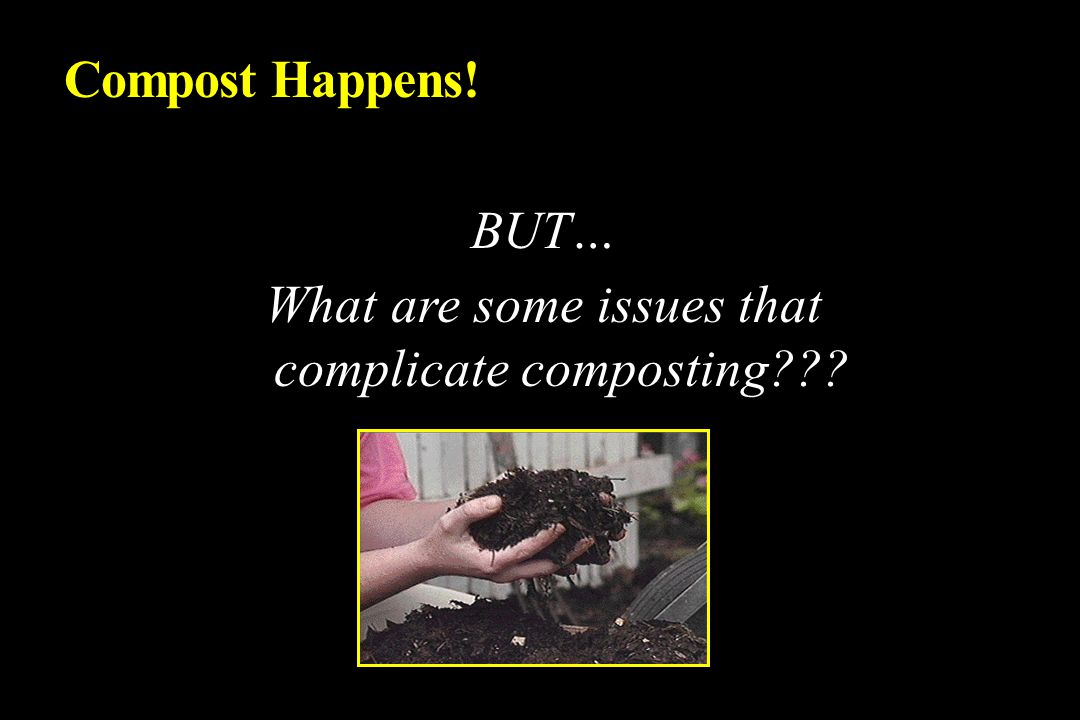 BUT… What are some issues that complicate composting Compost Happens!