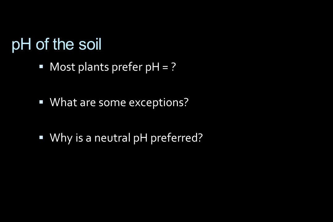 pH of the soil  Most plants prefer pH = .  What are some exceptions.