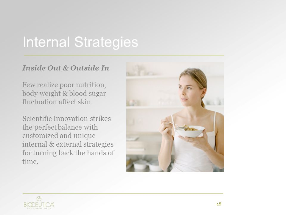 Internal Strategies Inside Out & Outside In Few realize poor nutrition, body weight & blood sugar fluctuation affect skin.