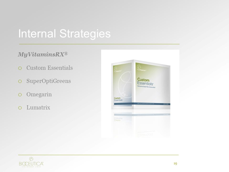 Internal Strategies MyVitaminsRX ® o Custom Essentials o SuperOptiGreens o Omegarin o Lumatrix 19