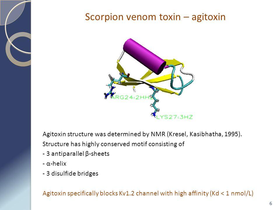Scorpion venom toxin – agitoxin 6 Agitoxin structure was determined by NMR (Kresel, Kasibhatha, 1995).