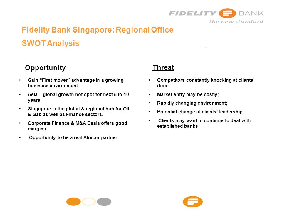 Fidelity Bank Singapore: Regional Office SWOT Analysis Gain First mover advantage in a growing business environment Asia – global growth hot-spot for next 5 to 10 years Singapore is the global & regional hub for Oil & Gas as well as Finance sectors.