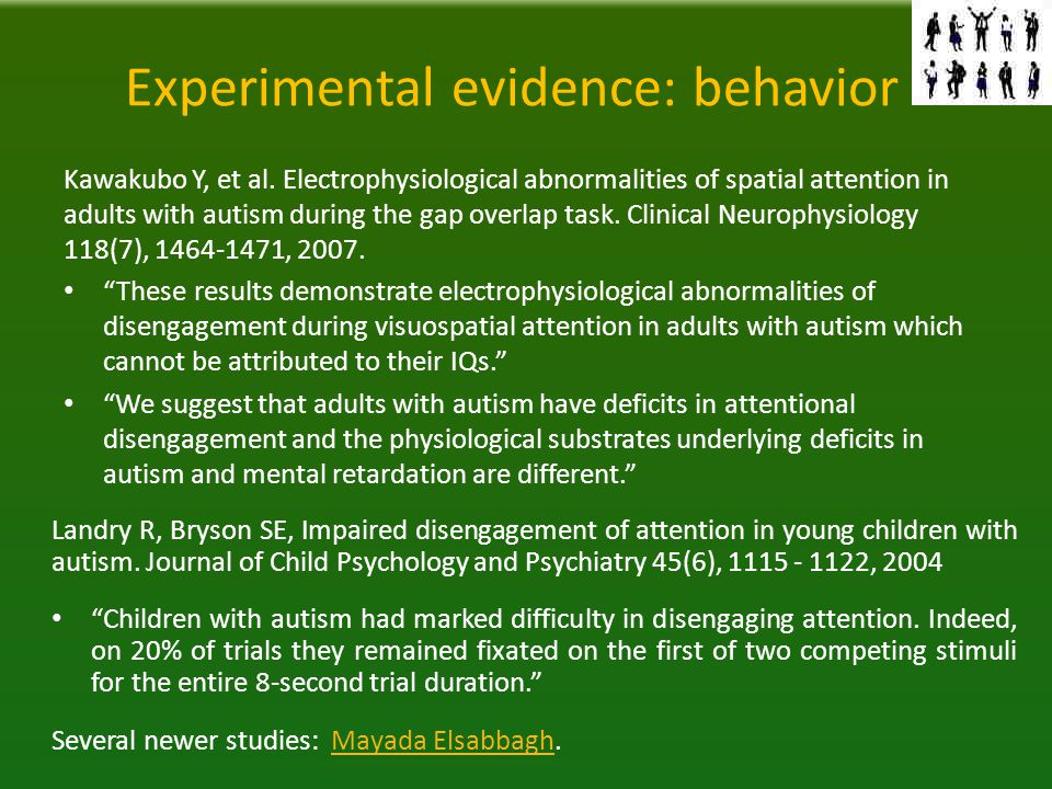 Experimental evidence: behavior Kawakubo Y, et al.