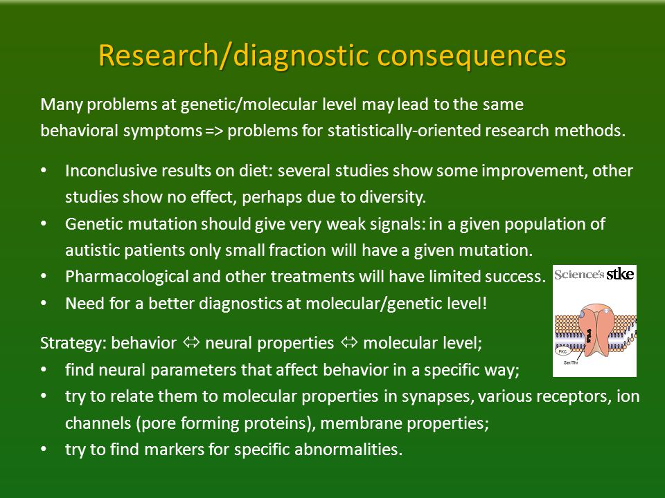 Research/diagnostic consequences Many problems at genetic/molecular level may lead to the same behavioral symptoms => problems for statistically-oriented research methods.