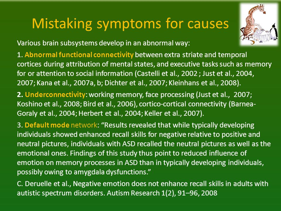 Mistaking symptoms for causes Various brain subsystems develop in an abnormal way: 1.